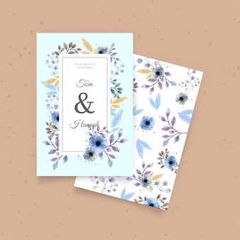 Cute wedding invitation with watercolor flowers