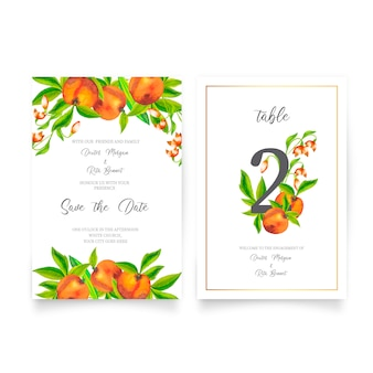 Cute wedding invitation with watercolor fruits