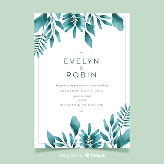 Cute wedding invitation with watercolor leaves template