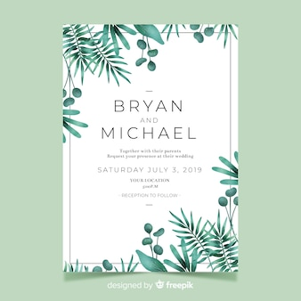 Cute wedding invitation with watercolor leaves