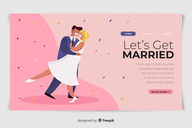 Cute wedding landing page template with illustrations