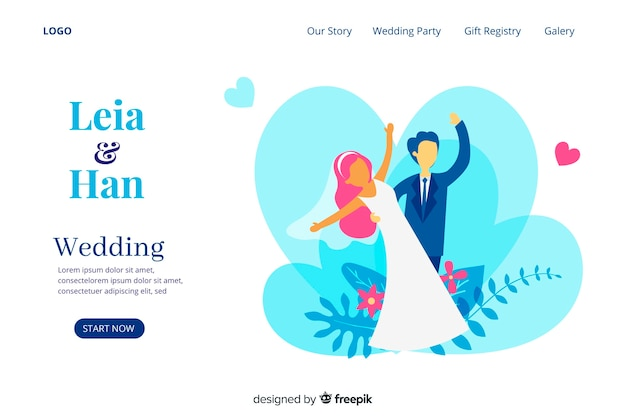Cute wedding landing page with illustrations template