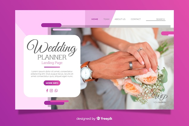 Cute wedding landing page with photo template