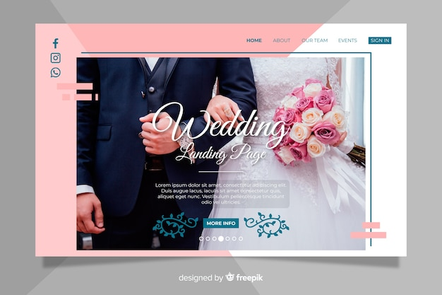 Cute wedding landing page with photo