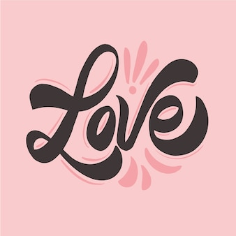 Cute wedding love lettering concept
