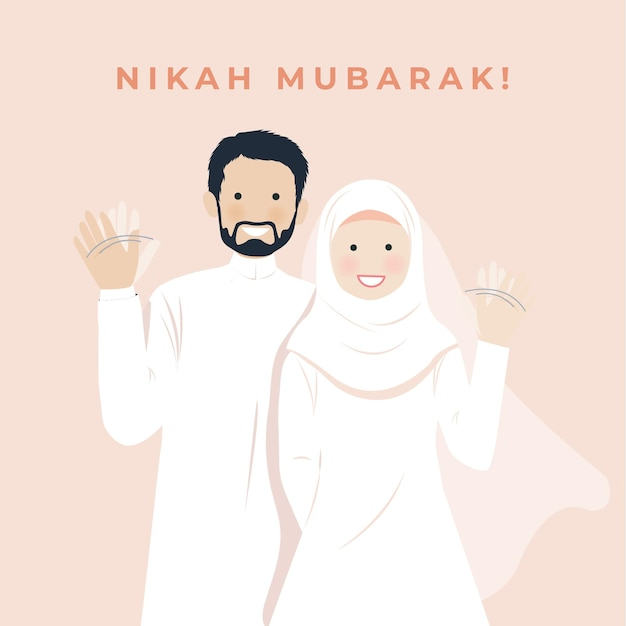 Cute wedding muslim couple portrait illustration smiling and waving hand greeting gesture, nikah mubarak greetings, walima save the date with pink wall