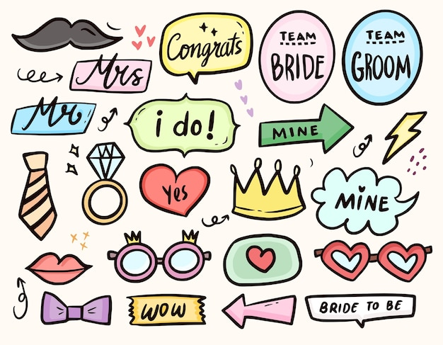 Cute wedding party photo booth properties drawing collection set