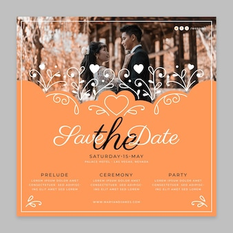 Cute wedding square flyer template