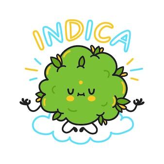 귀여운 대마초 봉오리. 인디카 견적. 벡터 만화 캐릭터 플랫 라인 그림입니다. 대마초, 마리화나 계통, 인디카 대마초 개념 프리미엄 벡터