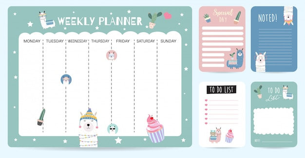 Cute weekly planner background for kid with llama