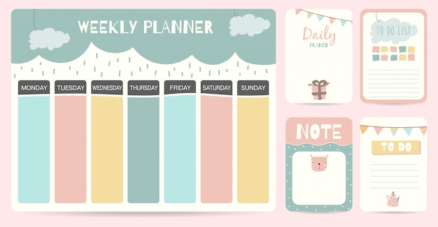 Cute weekly planner background for kid
