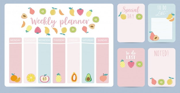 Cute weekly planner background with strawberry