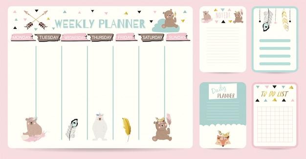 Cute weekly planner in boho style