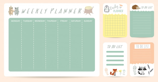 Cute weekly planner for kid with bear