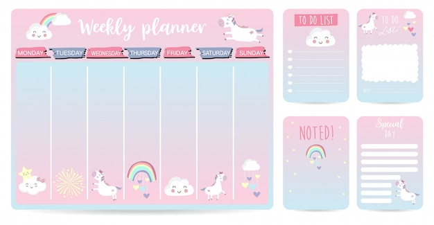 Cute weekly planner kid with unicorn, rainbow and cloud