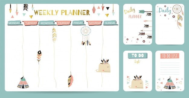 Cute weekly planner for kid