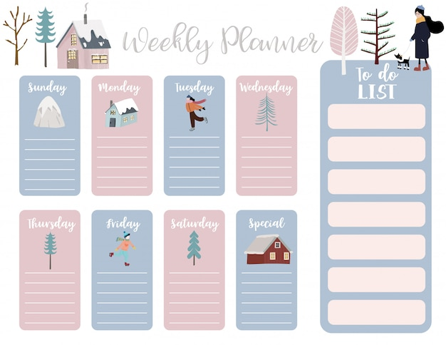 Cute weekly planner with house, snow, people, tree.