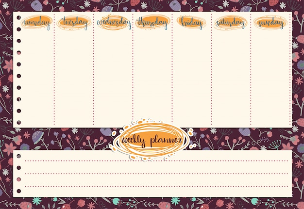 Cute weekly planner with the pattern of flowers and leaves