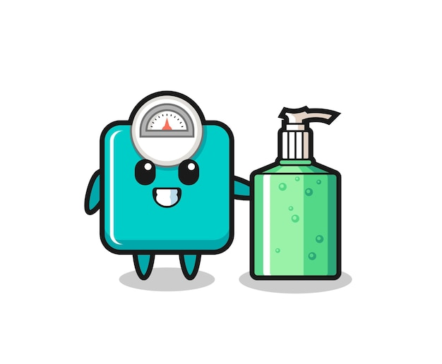 Cute weight scale cartoon with hand sanitizer , cute style design for t shirt, sticker, logo element