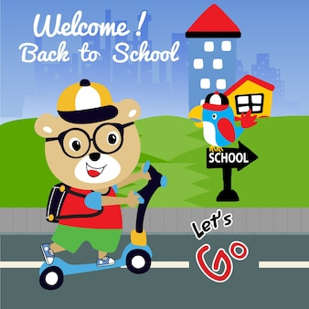 Cute welcome back to school cartoon