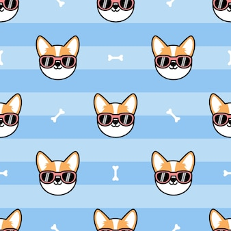 Cute welsh corgi dog face with sunglasses cartoon seamless pattern,  illustration