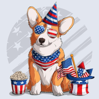 Cute welsh corgi fluffy pembroke dog sitting with american independence day elements 4th of july and memorial day