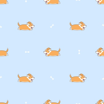 Cute welsh corgi long tail running cartoon seamless pattern