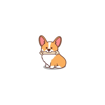 Cute welsh corgi puppy cartoon icon