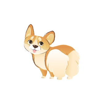 Cute welsh corgi puppy drawing in funny pose showing his butt.