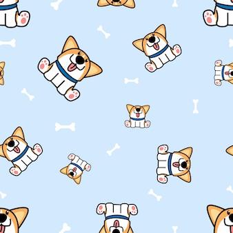 Cute welsh corgi puppy sitting with bones seamless pattern