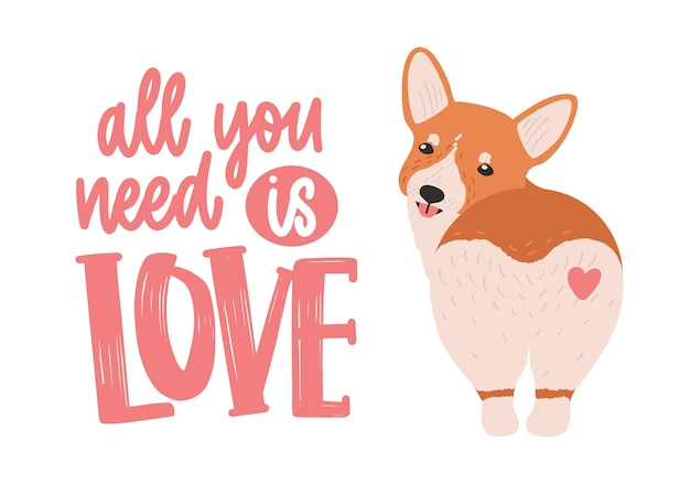 Cute welsh corgi with heart on his back and all you need is love slogan handwritten with elegant cursive font