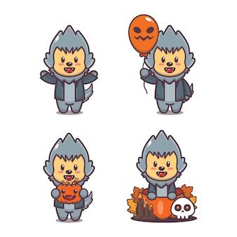 귀여운 늑대 인간 할로윈 만화 그림 귀여운 할로윈 만화 벡터 일러스트 레이션