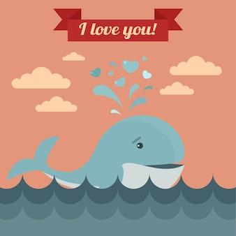 귀여운 고래와 나는 당신을 사랑 리본