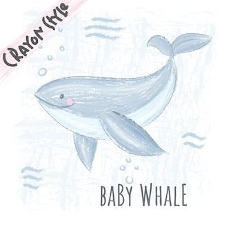Cute whale animal crayon style illustration for kids