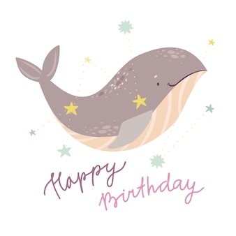 Cute whale birthday greeting