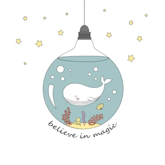 Cute whale in the bulb