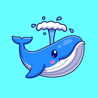 귀여운 고래 만화 벡터 아이콘 그림입니다. 동물 자연 아이콘 개념 절연 프리미엄 벡터입니다. 플랫 만화 스타일