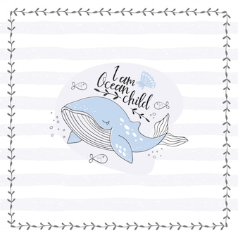 Cute whale doodle poster. hand drawn ocean animal