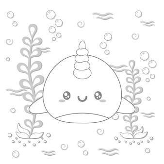 채색을위한 귀여운 고래 그리기 스케치