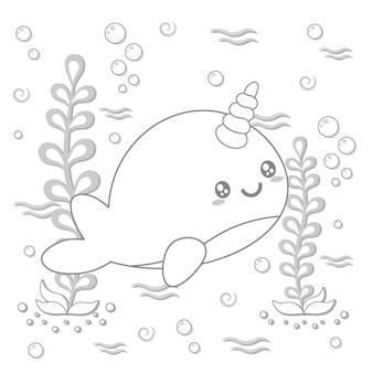 채색을위한 귀여운 고래 그리기 스케치 프리미엄 벡터