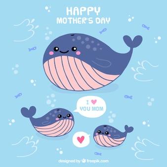 어머니의 날의 귀여운 고래 가족 카드