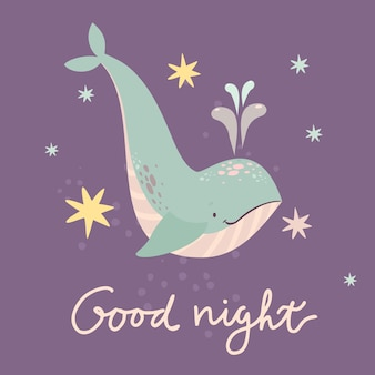 Cute whale good night