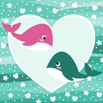 Cute whale in love background.