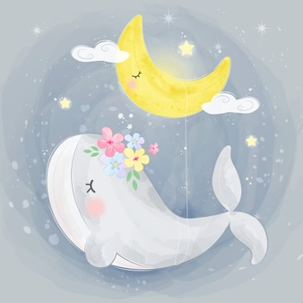 Cute whale and the moon