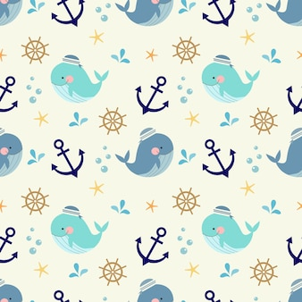 Cute whale, nautical and marine symbols seamless pattern.