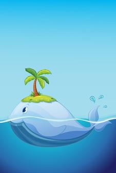 Cute whale in ocean concept