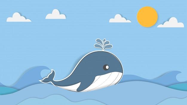 Милая пастельная иллюстрация кита. мультфильм и бумага арт дизайн