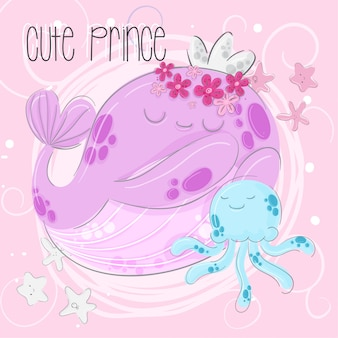 Cute whale princes  hand draw illustration