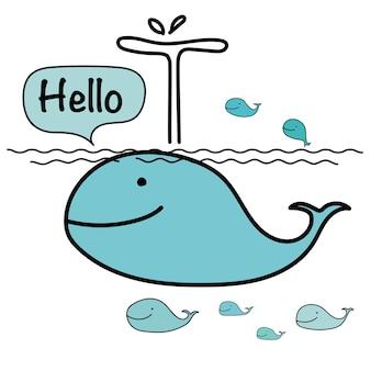 Cute whale say hello.