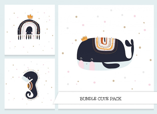 Cute whale and seahorse stationery set